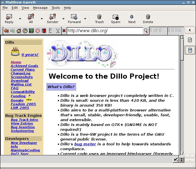 Claws Mail - Dillo HTML Viewer...