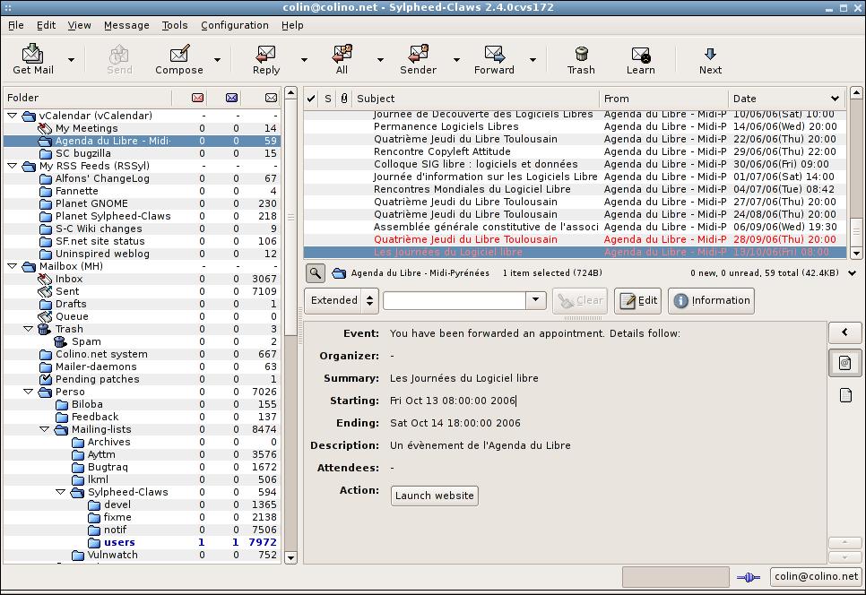 Claws Mail - vCalendar plugin
